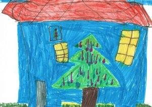 Pomul din faţa căsuţei albastre